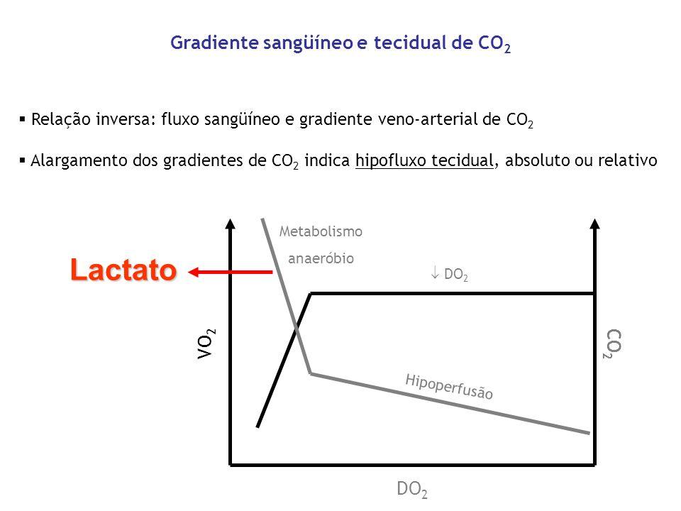 Gradiente sangüíneo e tecidual de CO 2 Relação inversa: fluxo sangüíneo e gradiente veno-arterial de CO 2 Alargamento dos gradientes de CO 2 indica hi