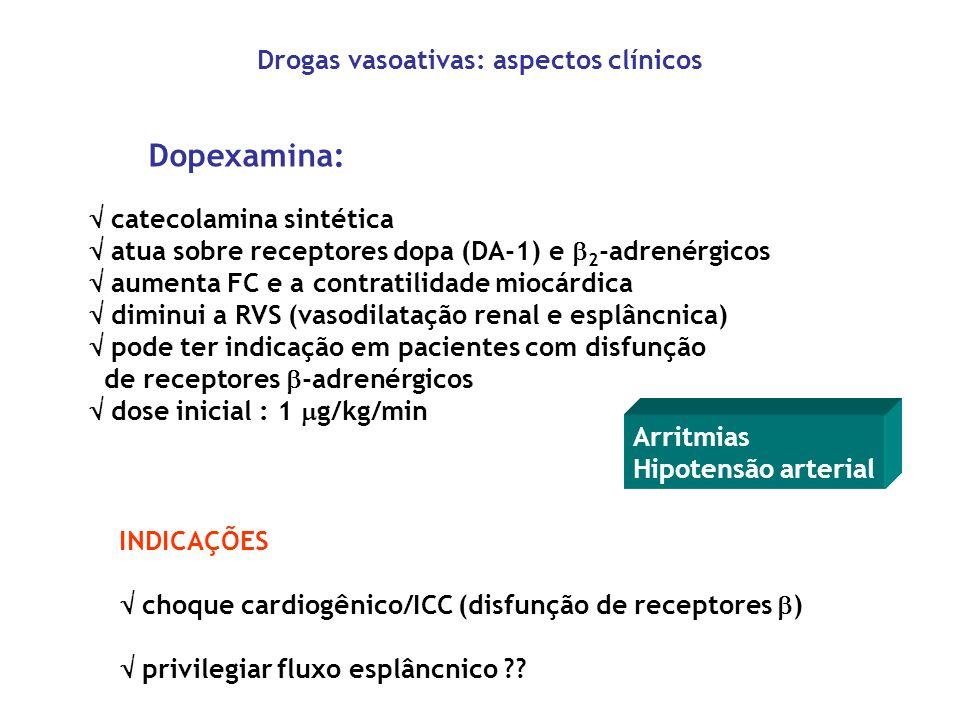 Dopexamina: catecolamina sintética atua sobre receptores dopa (DA-1) e 2 -adrenérgicos aumenta FC e a contratilidade miocárdica diminui a RVS (vasodil