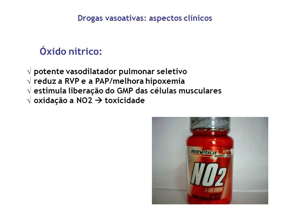 Drogas vasoativas: aspectos clínicos Óxido nítrico: potente vasodilatador pulmonar seletivo reduz a RVP e a PAP/melhora hipoxemia estimula liberação d