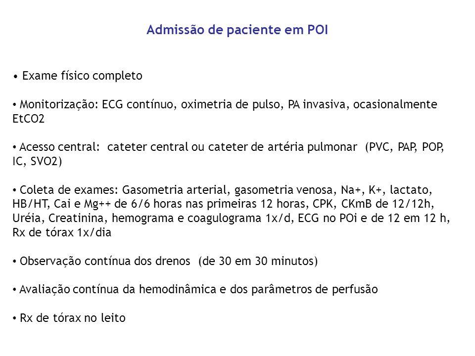 Exame físico completo Monitorização: ECG contínuo, oximetria de pulso, PA invasiva, ocasionalmente EtCO2 Acesso central: cateter central ou cateter de