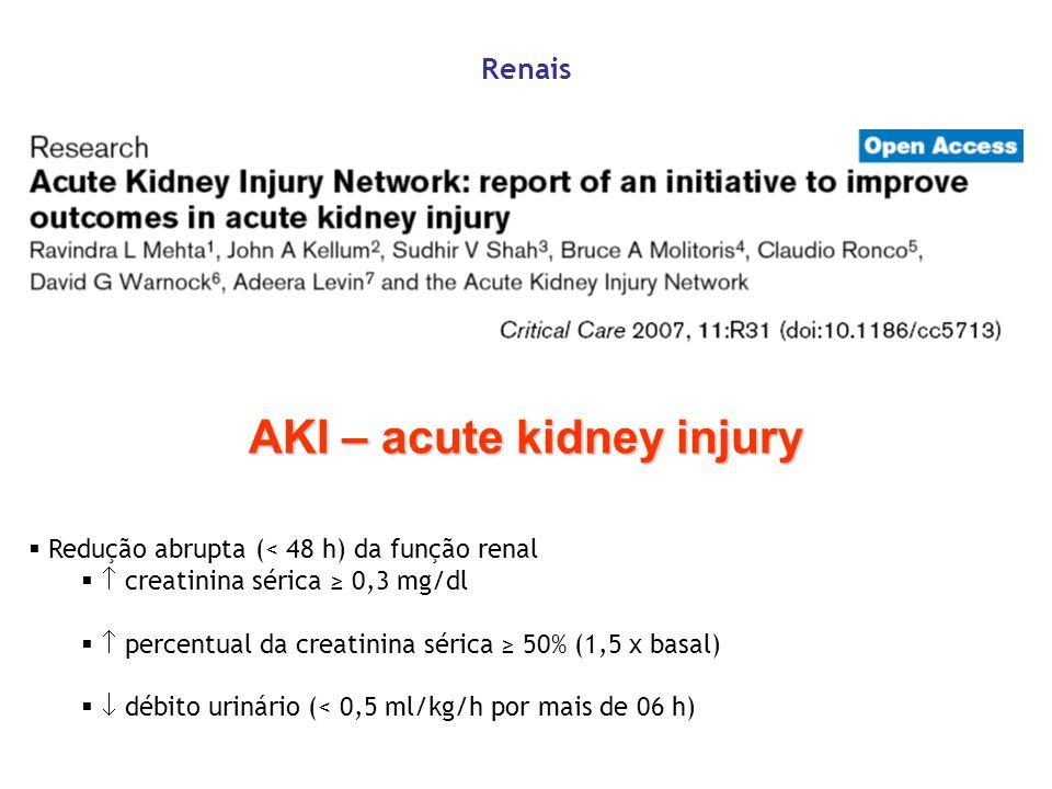 Renais Redução abrupta (< 48 h) da função renal creatinina sérica 0,3 mg/dl percentual da creatinina sérica 50% (1,5 x basal) débito urinário (< 0,5 m
