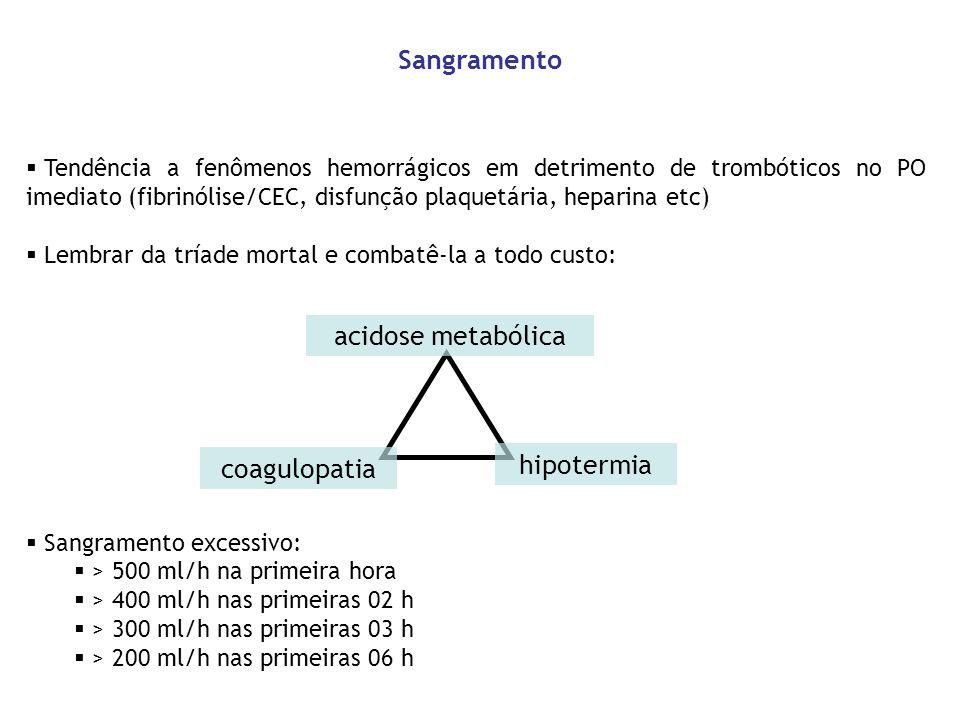 Tendência a fenômenos hemorrágicos em detrimento de trombóticos no PO imediato (fibrinólise/CEC, disfunção plaquetária, heparina etc) Lembrar da tríad