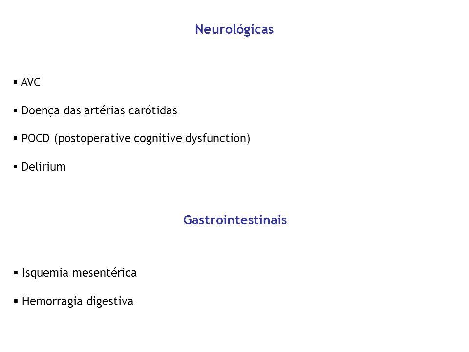 AVC Doença das artérias carótidas POCD (postoperative cognitive dysfunction) Delirium Neurológicas Isquemia mesentérica Hemorragia digestiva Gastroint