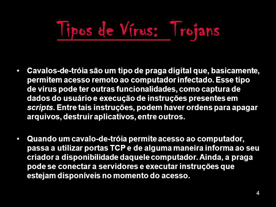 3 Como Agem: Antigamente os vírus usavam disquetes para contaminar.