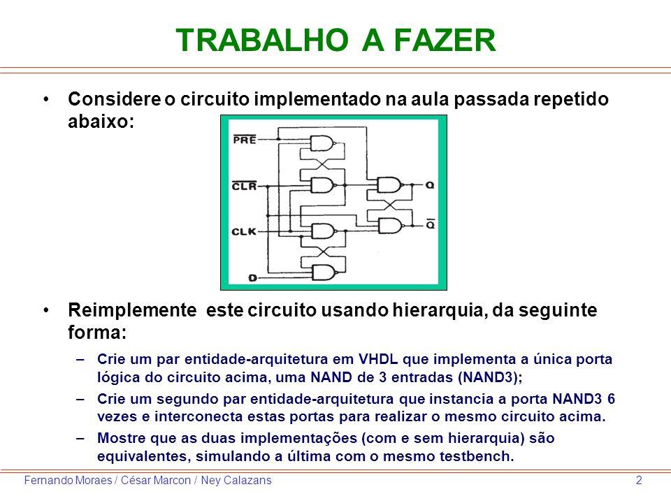 2Fernando Moraes / César Marcon / Ney Calazans TRABALHO A FAZER Considere o circuito implementado na aula passada repetido abaixo: Reimplemente este circuito usando hierarquia, da seguinte forma: –Crie um par entidade-arquitetura em VHDL que implementa a única porta lógica do circuito acima, uma NAND de 3 entradas (NAND3); –Crie um segundo par entidade-arquitetura que instancia a porta NAND3 6 vezes e interconecta estas portas para realizar o mesmo circuito acima.