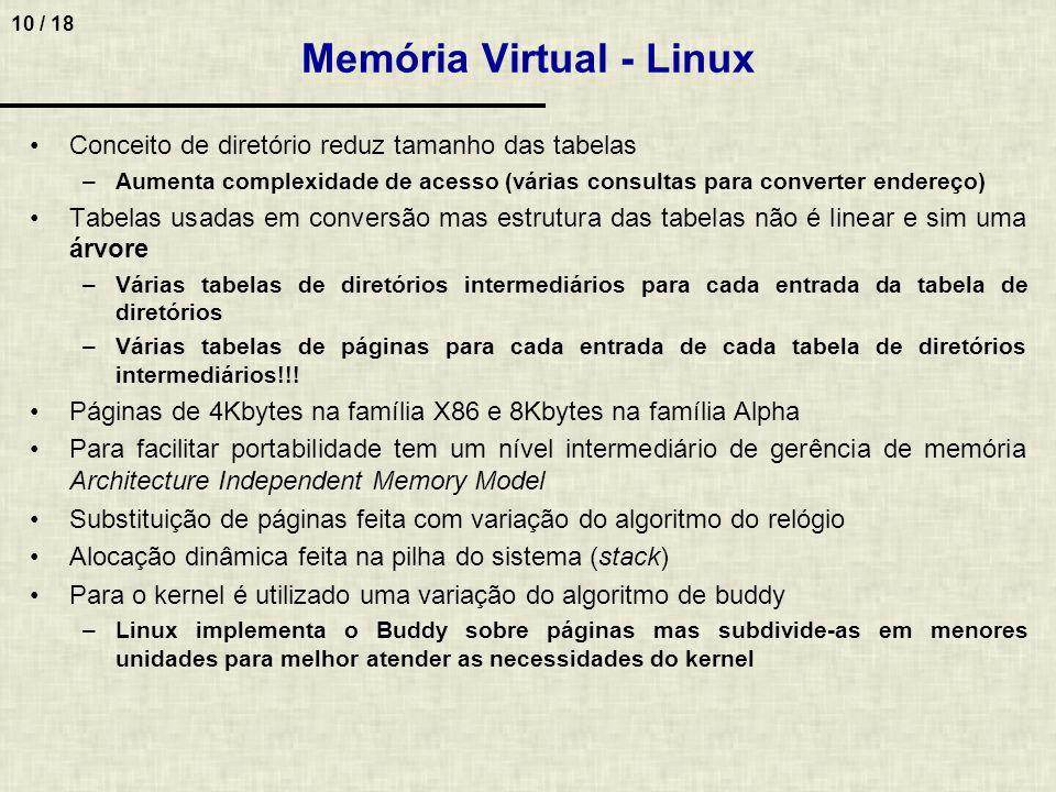 10 / 18 Memória Virtual - Linux Conceito de diretório reduz tamanho das tabelas –Aumenta complexidade de acesso (várias consultas para converter ender