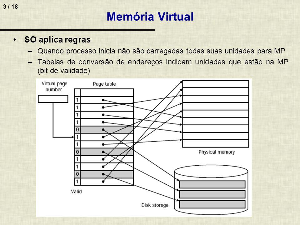 3 / 18 Memória Virtual SO aplica regras –Quando processo inicia não são carregadas todas suas unidades para MP –Tabelas de conversão de endereços indicam unidades que estão na MP (bit de validade)