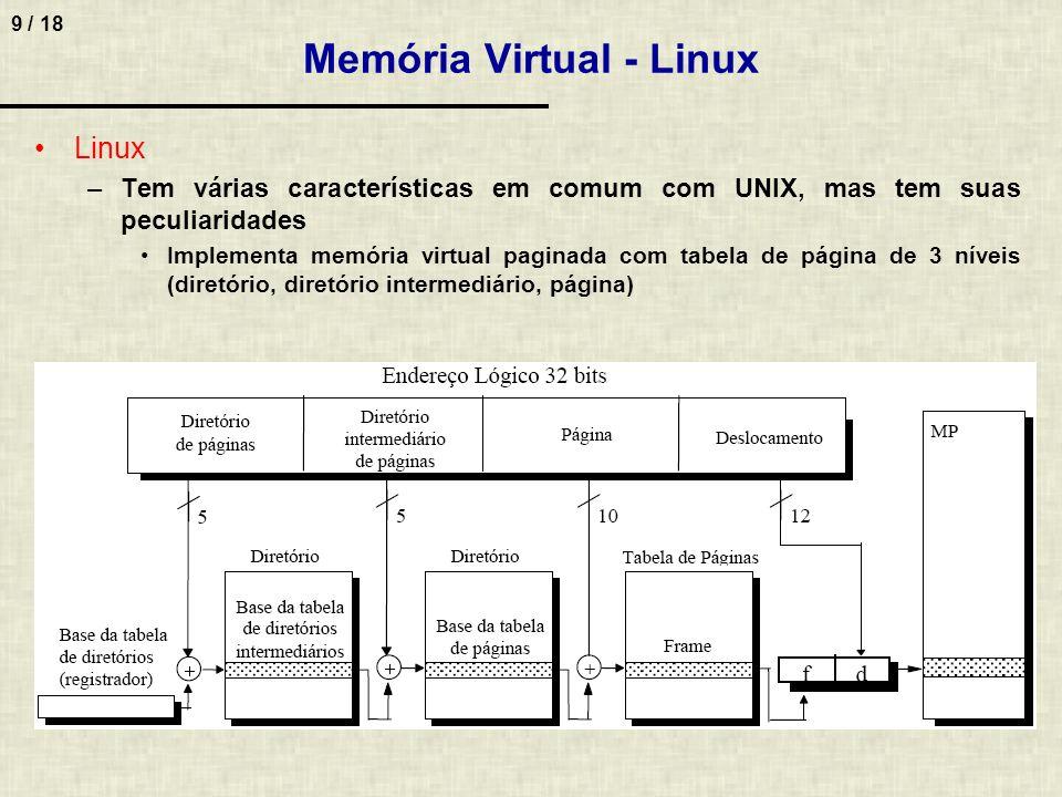9 / 18 Memória Virtual - Linux Linux –Tem várias características em comum com UNIX, mas tem suas peculiaridades Implementa memória virtual paginada com tabela de página de 3 níveis (diretório, diretório intermediário, página)