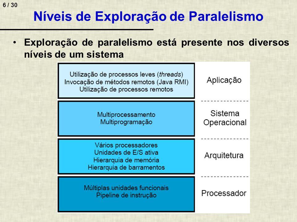 7 / 30 Granularidade de Paralelismo Definição –Grau de agrupamento de funcionalidades em unidades ativas Grão grosso –Particionamento em unidades de trabalho grandes –Alto custo de processamento.