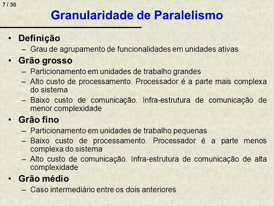 7 / 30 Granularidade de Paralelismo Definição –Grau de agrupamento de funcionalidades em unidades ativas Grão grosso –Particionamento em unidades de t