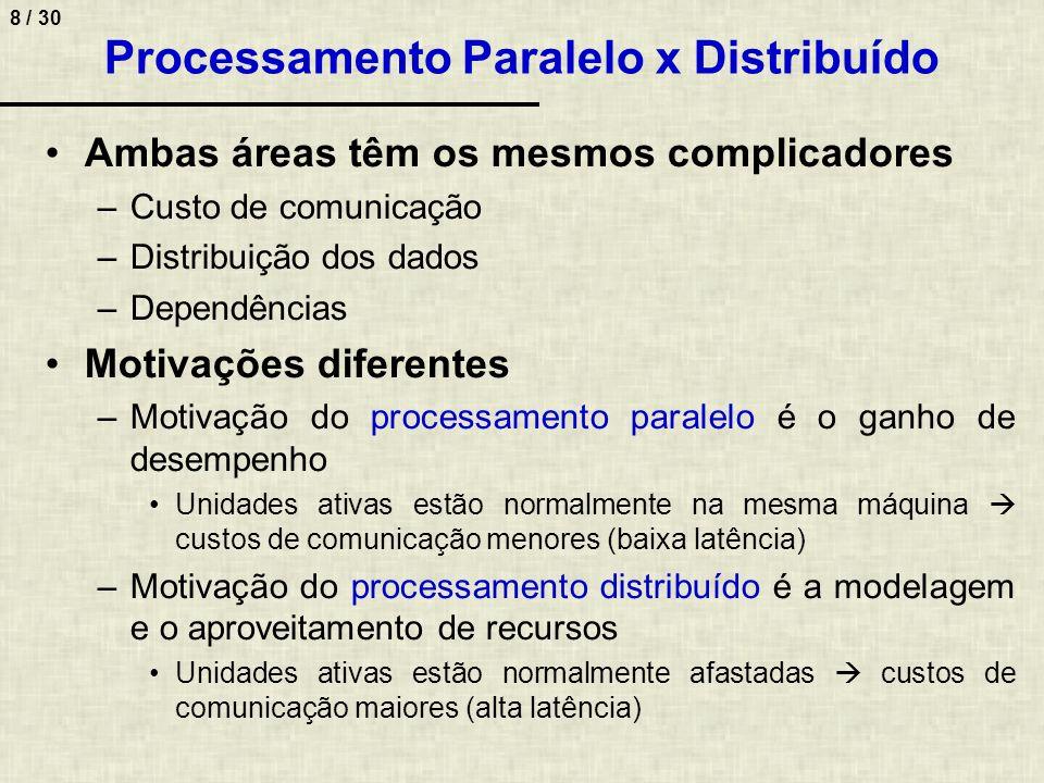 8 / 30 Processamento Paralelo x Distribuído Ambas áreas têm os mesmos complicadores –Custo de comunicação –Distribuição dos dados –Dependências Motiva