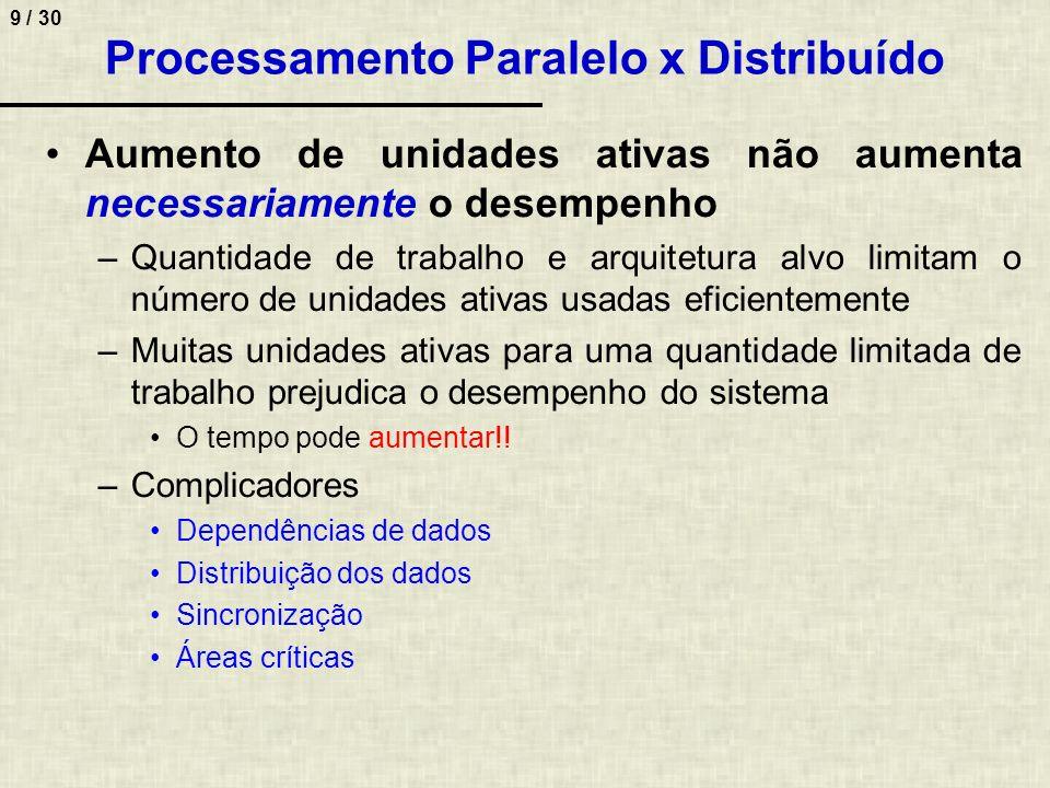 9 / 30 Processamento Paralelo x Distribuído Aumento de unidades ativas não aumenta necessariamente o desempenho –Quantidade de trabalho e arquitetura