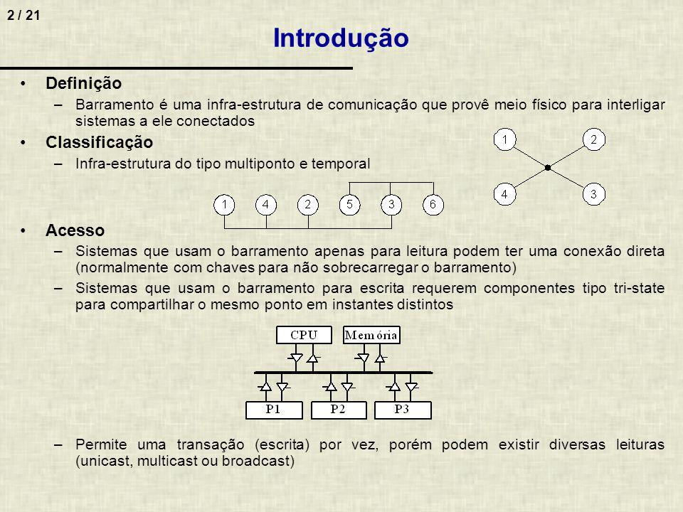 2 / 21 Definição –Barramento é uma infra-estrutura de comunicação que provê meio físico para interligar sistemas a ele conectados Classificação –Infra
