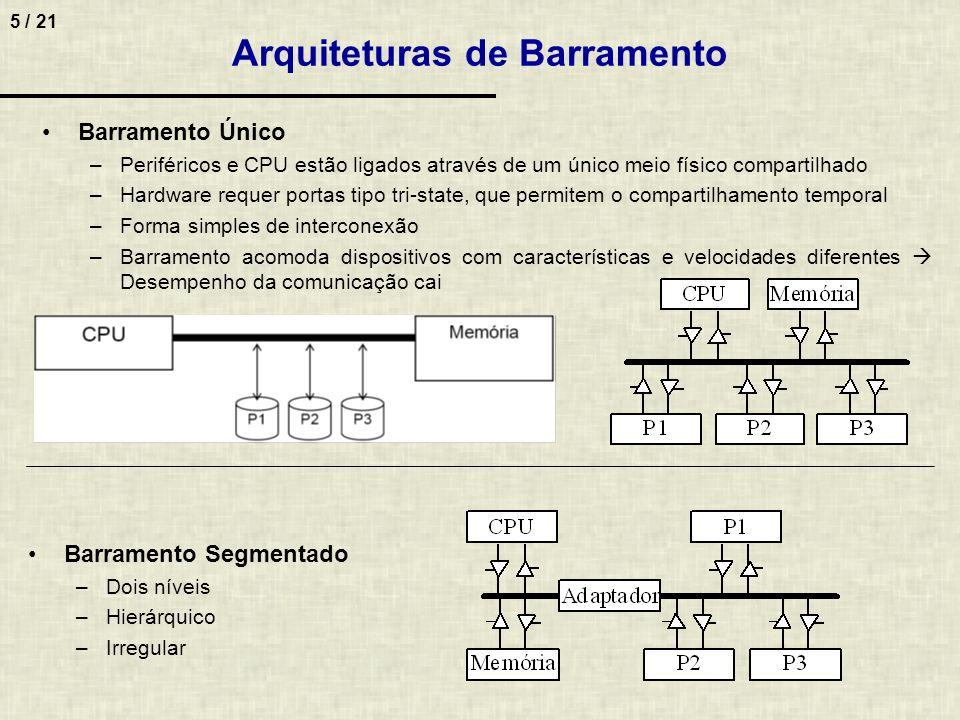 5 / 21 Arquiteturas de Barramento Barramento Único –Periféricos e CPU estão ligados através de um único meio físico compartilhado –Hardware requer por