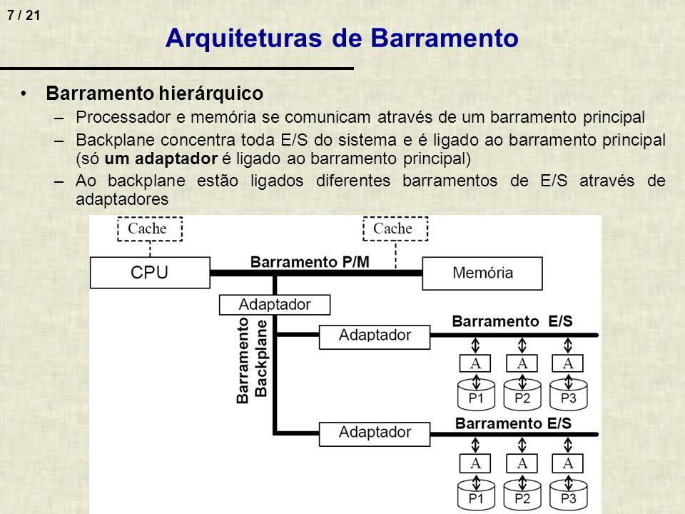 7 / 21 Barramento hierárquico –Processador e memória se comunicam através de um barramento principal –Backplane concentra toda E/S do sistema e é liga