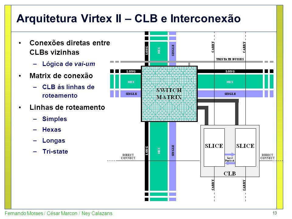 13 Fernando Moraes / César Marcon / Ney Calazans Arquitetura Virtex II – CLB e Interconexão Conexões diretas entre CLBs vizinhas –Lógica de vai-um Mat