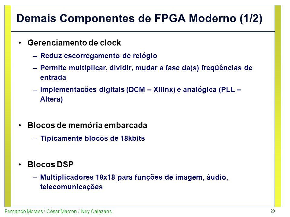 20 Fernando Moraes / César Marcon / Ney Calazans Demais Componentes de FPGA Moderno (1/2) Gerenciamento de clock –Reduz escorregamento de relógio –Per
