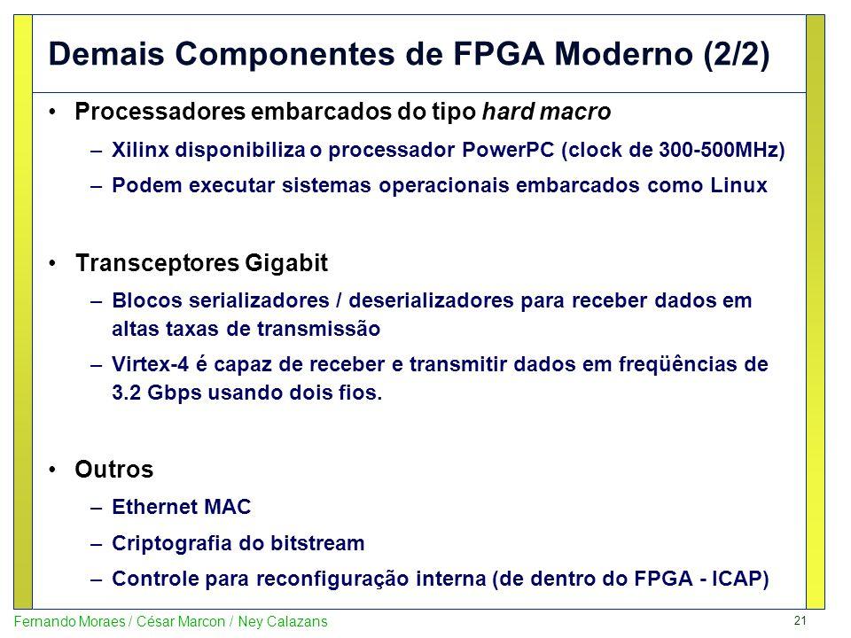 21 Fernando Moraes / César Marcon / Ney Calazans Demais Componentes de FPGA Moderno (2/2) Processadores embarcados do tipo hard macro –Xilinx disponib