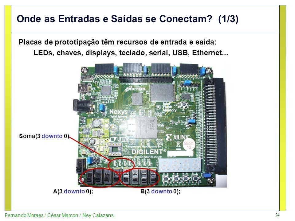 24 Fernando Moraes / César Marcon / Ney Calazans Onde as Entradas e Saídas se Conectam? (1/3) Placas de prototipação têm recursos de entrada e saída: