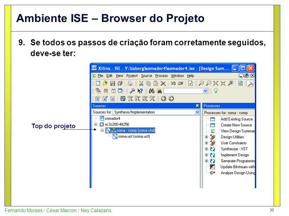 30 Fernando Moraes / César Marcon / Ney Calazans Ambiente ISE – Browser do Projeto 9.Se todos os passos de criação foram corretamente seguidos, deve-s