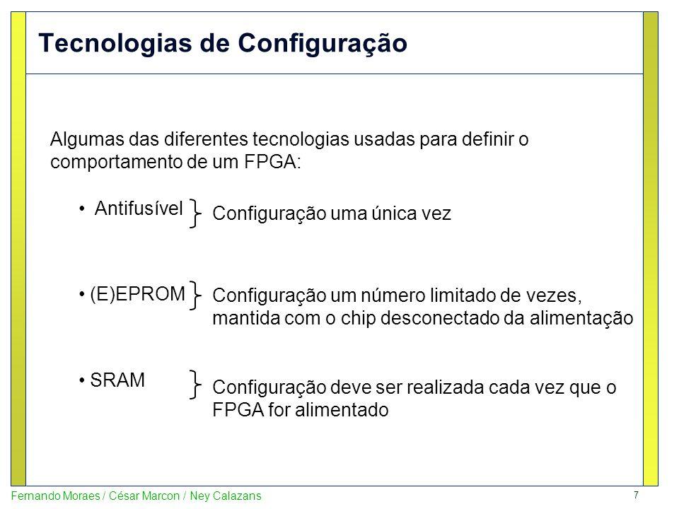 8 Fernando Moraes / César Marcon / Ney Calazans LUT – O Gerador Universal de Funções LUT - look-up table –Uma porção de hardware configurável/reconfigurável capaz de implementar qualquer tabela verdade de n entradas –Para n=4: –LUT »Altamente flexível »Método mais utilizado (Xilinx e Altera) 2 (2) 4 = 65.536 funções implementáveis