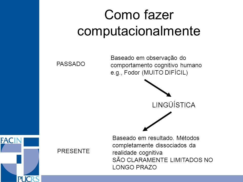 Como fazer computacionalmente Baseado em observação do comportamento cognitivo humano e.g., Fodor (MUITO DIFÍCIL) Baseado em resultado. Métodos comple