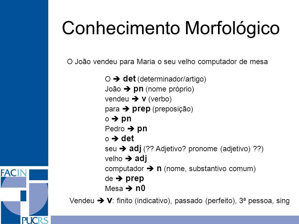 Conhecimento Morfológico O João vendeu para Maria o seu velho computador de mesa O det (determinador/artigo) João pn (nome próprio) vendeu v (verbo) p