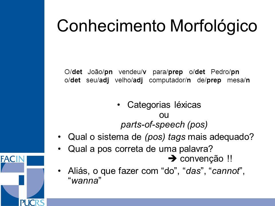 Categorias léxicas ou parts-of-speech (pos) Qual o sistema de (pos) tags mais adequado? Qual a pos correta de uma palavra? convenção !! Aliás, o que f