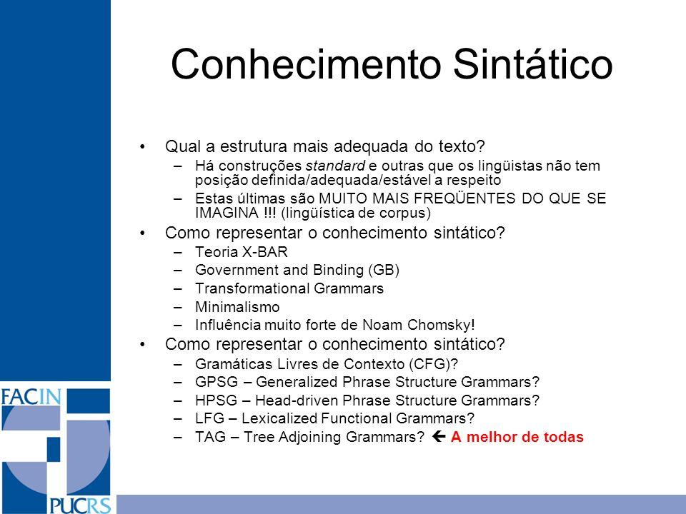 Conhecimento Sintático Qual a estrutura mais adequada do texto? –Há construções standard e outras que os lingüistas não tem posição definida/adequada/