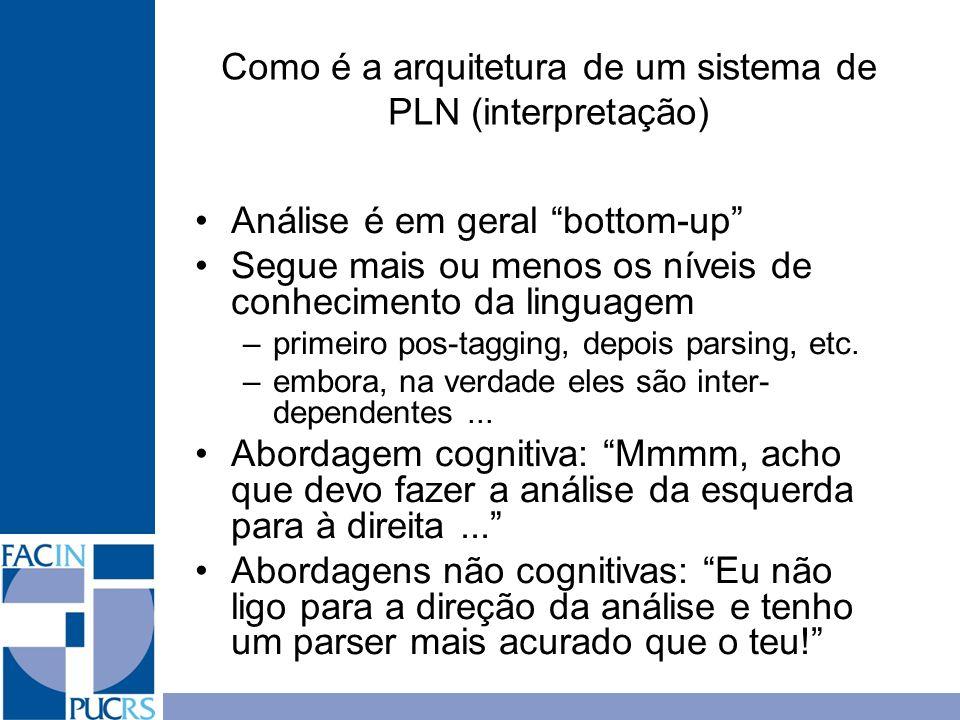 Como é a arquitetura de um sistema de PLN (interpretação) Análise é em geral bottom-up Segue mais ou menos os níveis de conhecimento da linguagem –pri