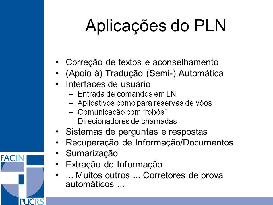 Aplicações do PLN Correção de textos e aconselhamento (Apoio à) Tradução (Semi-) Automática Interfaces de usuário –Entrada de comandos em LN –Aplicati