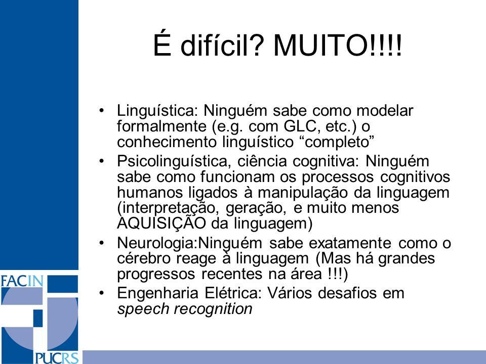 É difícil? MUITO!!!! Linguística: Ninguém sabe como modelar formalmente (e.g. com GLC, etc.) o conhecimento linguístico completo Psicolinguística, ciê