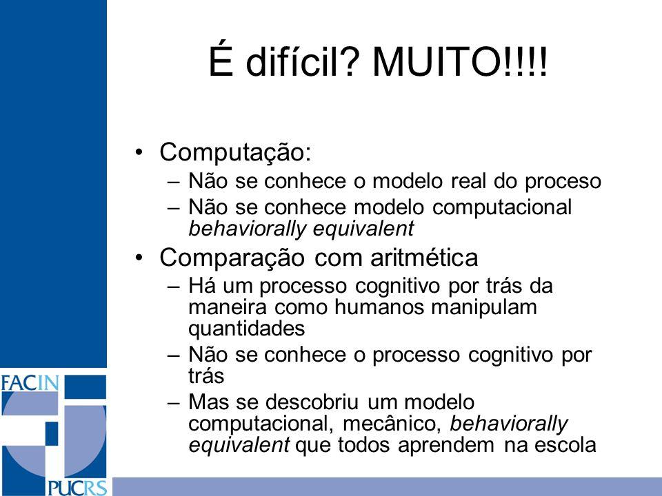 É difícil? MUITO!!!! Computação: –Não se conhece o modelo real do proceso –Não se conhece modelo computacional behaviorally equivalent Comparação com