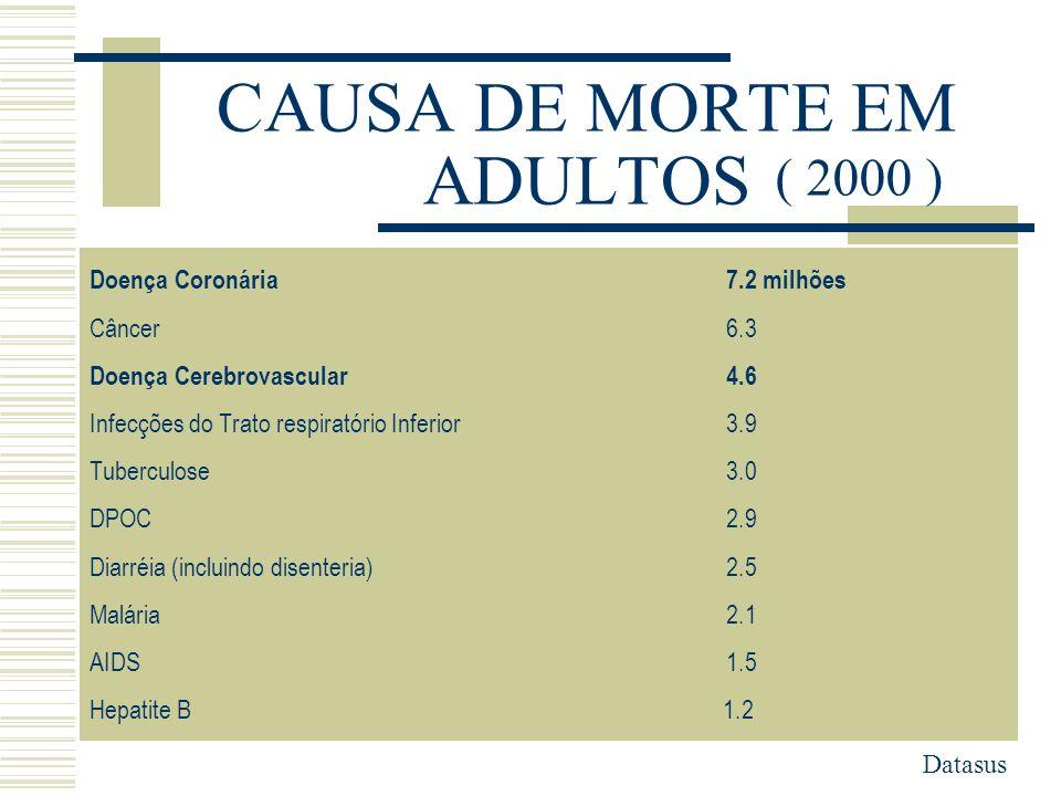 CAUSA DE MORTE EM ADULTOS Doença Coronária7.2 milhões Câncer6.3 Doença Cerebrovascular4.6 Infecções do Trato respiratório Inferior3.9 Tuberculose3.0 D
