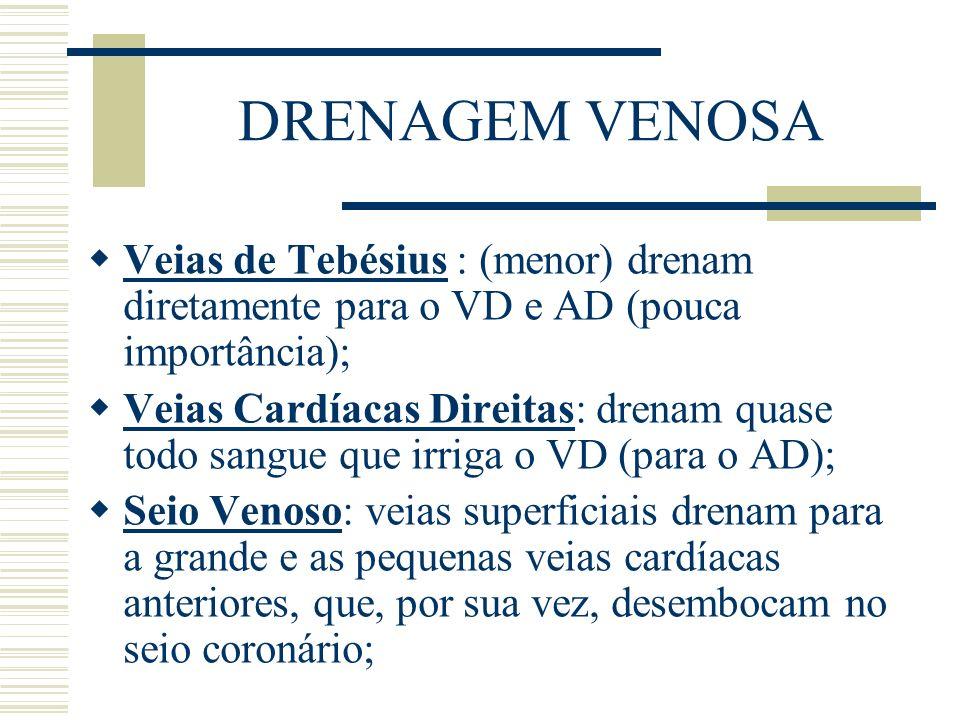 DRENAGEM VENOSA Veias de Tebésius : (menor) drenam diretamente para o VD e AD (pouca importância); Veias Cardíacas Direitas: drenam quase todo sangue