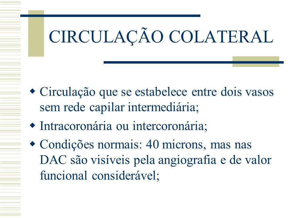 CIRCULAÇÃO COLATERAL Circulação que se estabelece entre dois vasos sem rede capilar intermediária; Intracoronária ou intercoronária; Condições normais
