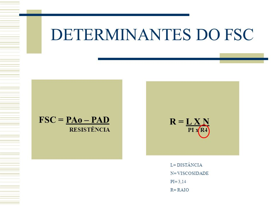 DETERMINANTES DO FSC FSC = PAo – PAD RESISTÊNCIA R = L X N PI x R4 L= DISTÂNCIA N= VISCOSIDADE PI= 3,14 R= RAIO
