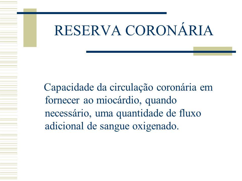 RESERVA CORONÁRIA Capacidade da circulação coronária em fornecer ao miocárdio, quando necessário, uma quantidade de fluxo adicional de sangue oxigenad