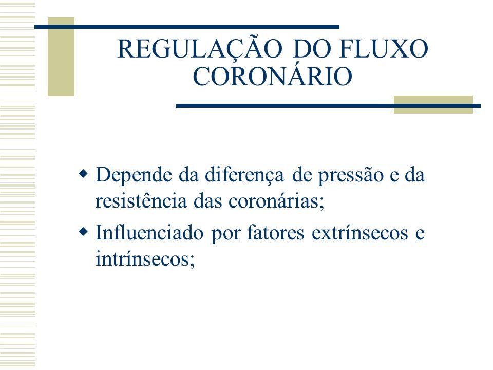 REGULAÇÃO DO FLUXO CORONÁRIO Depende da diferença de pressão e da resistência das coronárias; Influenciado por fatores extrínsecos e intrínsecos;