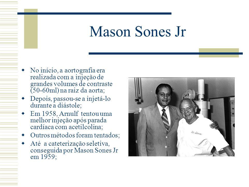 Mason Sones Jr No início, a aortografia era realizada com a injeção de grandes volumes de contraste (50-60ml) na raiz da aorta; Depois, passou-se a in
