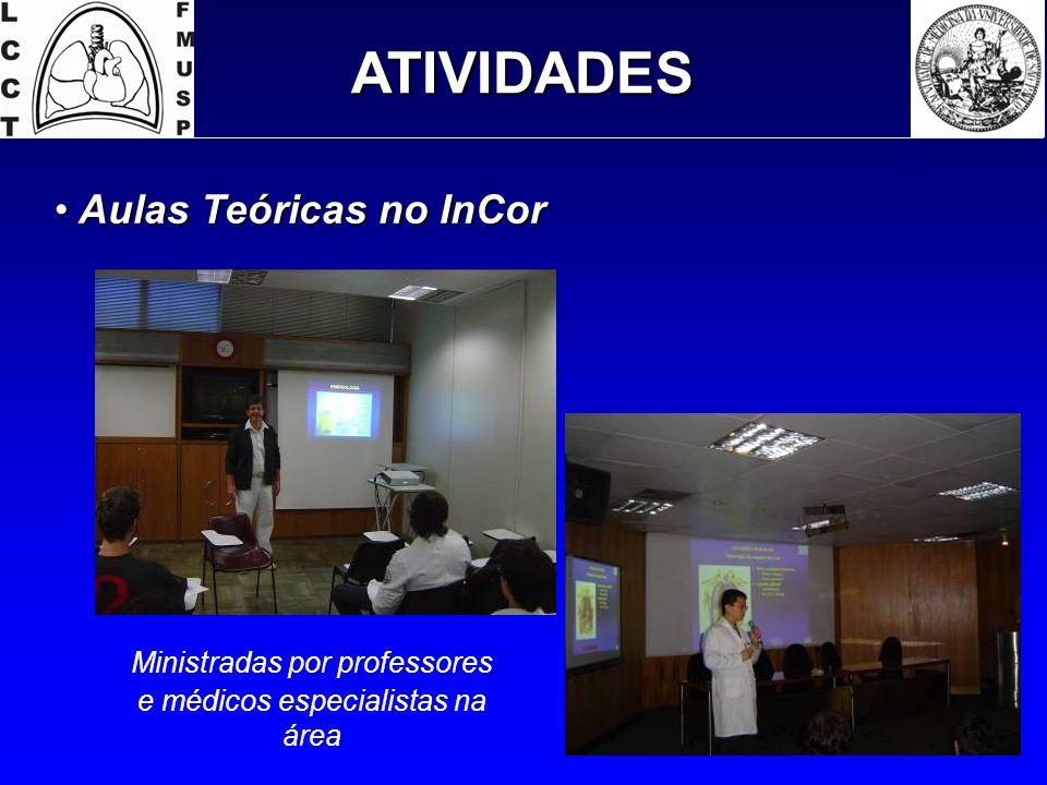 ATIVIDADES Aulas Teóricas no InCor Aulas Teóricas no InCor Ministradas por professores e médicos especialistas na área