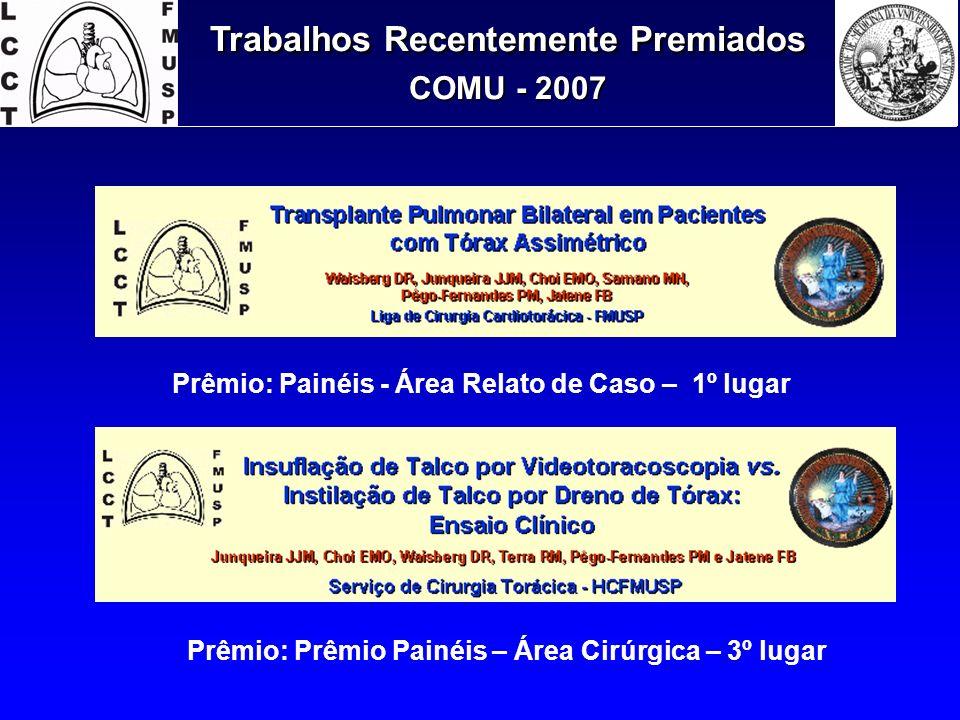 Prêmio: Painéis - Área Relato de Caso – 1º lugar Prêmio: Prêmio Painéis – Área Cirúrgica – 3º lugar
