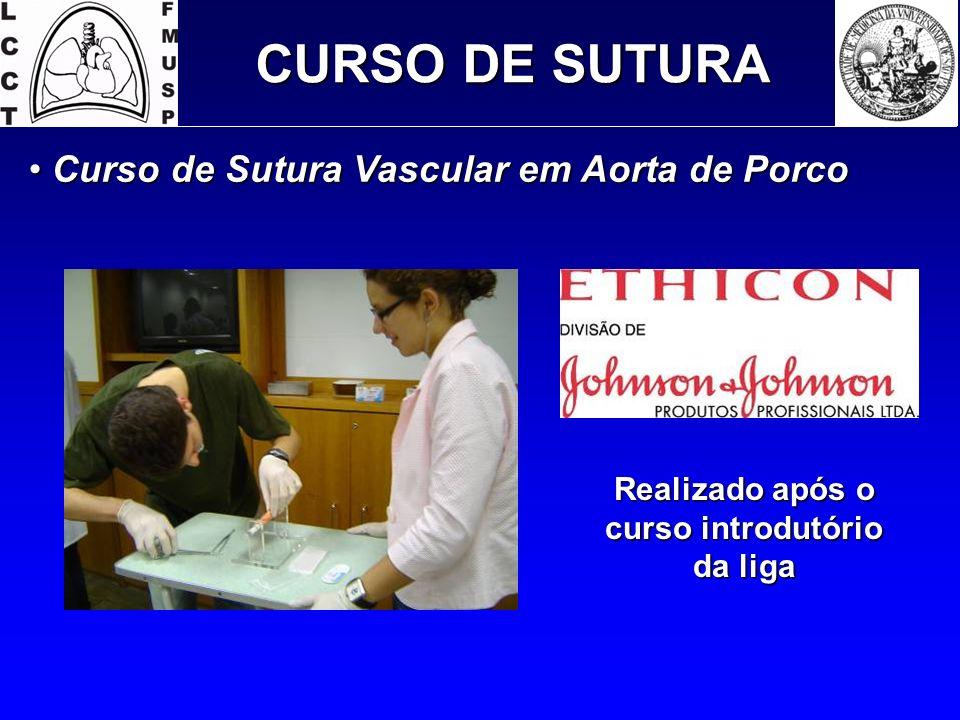 CURSO DE SUTURA Curso de Sutura Vascular em Aorta de Porco Curso de Sutura Vascular em Aorta de Porco Realizado após o curso introdutório da liga