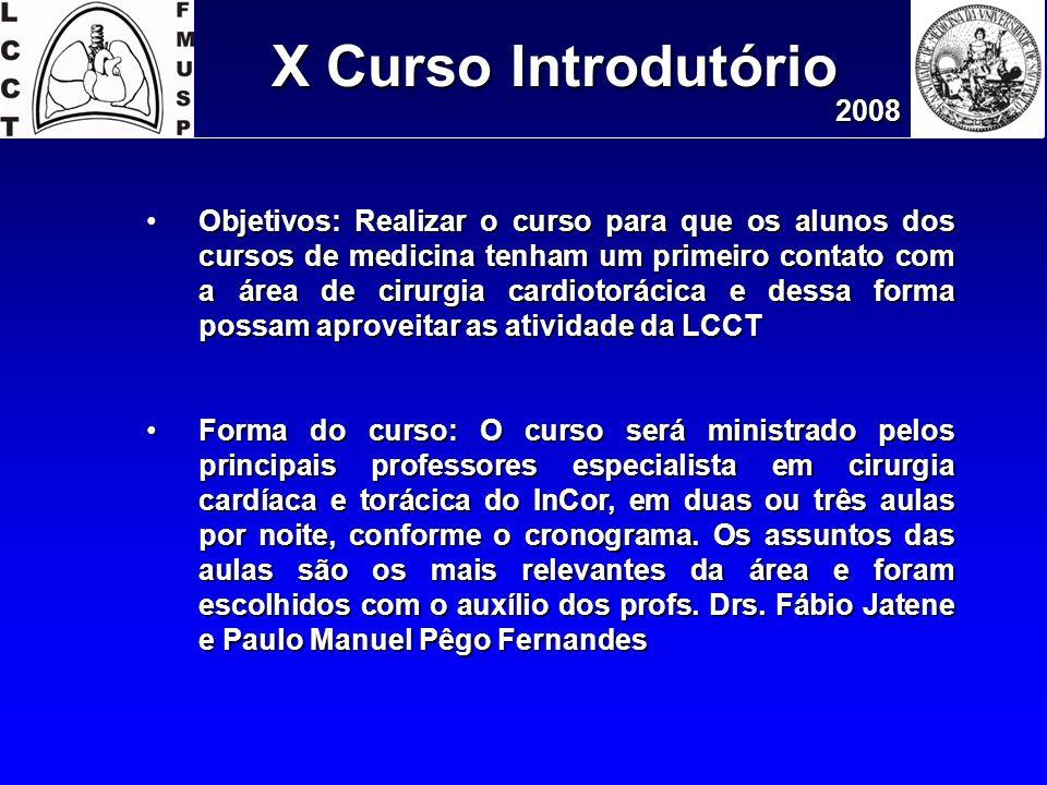 X Curso Introdutório 2008 Objetivos: Realizar o curso para que os alunos dos cursos de medicina tenham um primeiro contato com a área de cirurgia card