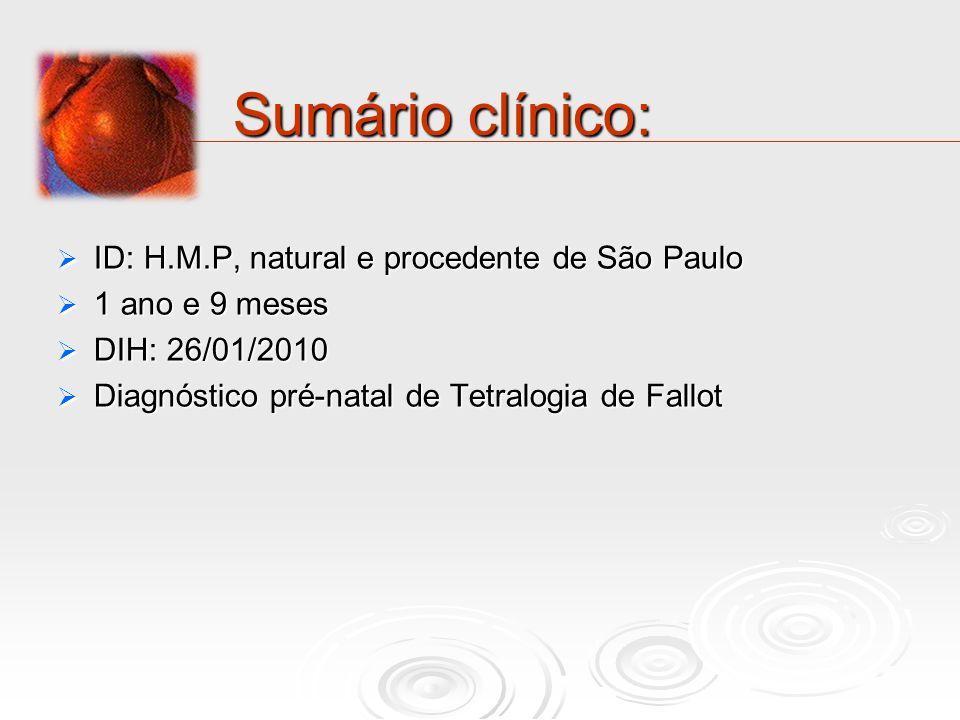 Sumário clínico: ID: H.M.P, natural e procedente de São Paulo ID: H.M.P, natural e procedente de São Paulo 1 ano e 9 meses 1 ano e 9 meses DIH: 26/01/