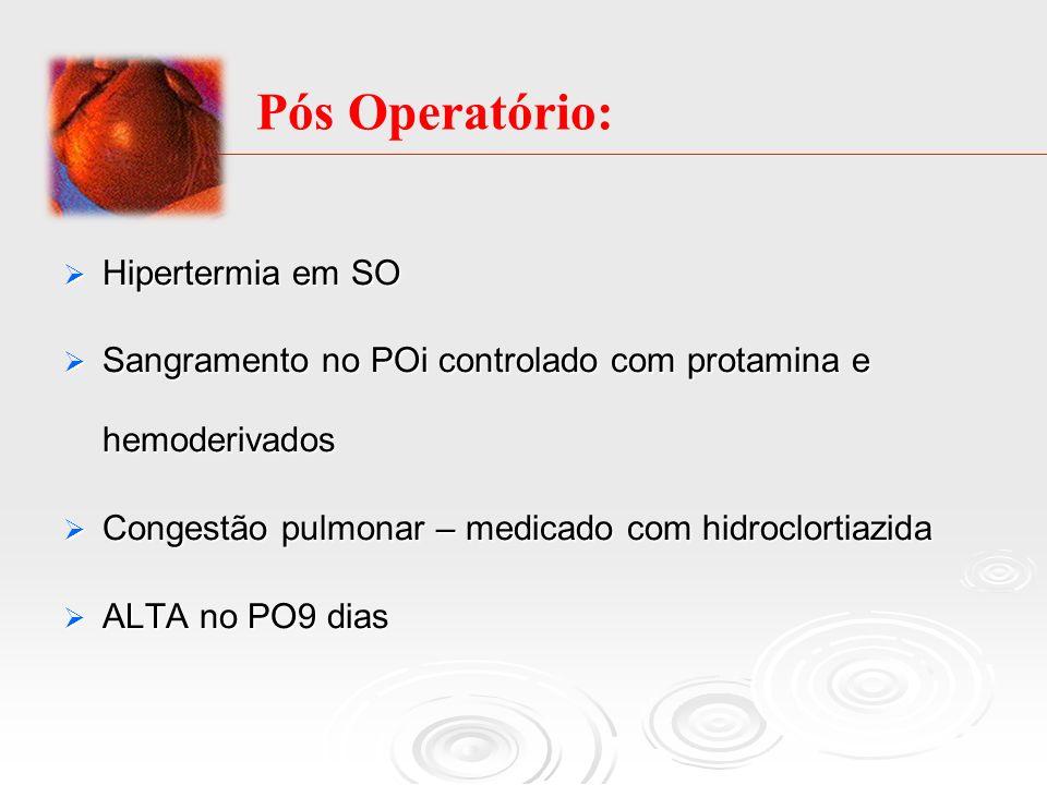 Hipertermia em SO Hipertermia em SO Sangramento no POi controlado com protamina e hemoderivados Sangramento no POi controlado com protamina e hemoderi
