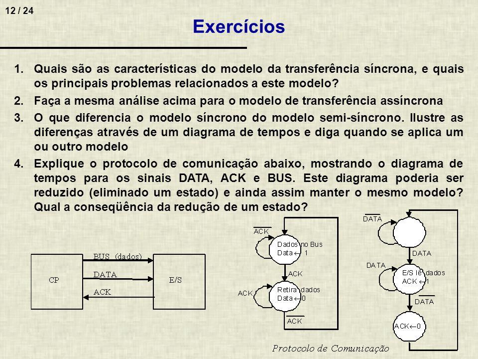 12 / 24 1.Quais são as características do modelo da transferência síncrona, e quais os principais problemas relacionados a este modelo? 2.Faça a mesma