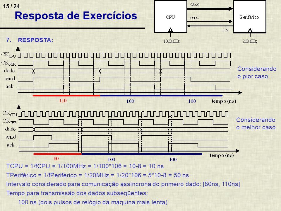 15 / 24 7.RESPOSTA: TCPU = 1/fCPU = 1/100MHz = 1/100*106 = 10-8 = 10 ns TPeriférico = 1/fPeriférico = 1/20MHz = 1/20*106 = 5*10-8 = 50 ns Intervalo co