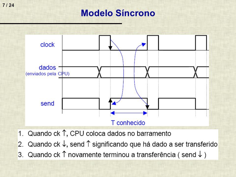 18 / 24 9.Considere o mesmo sistema do exercício anterior, mas agora a comunicação é conforme o modelo de transferência semi-síncrona.