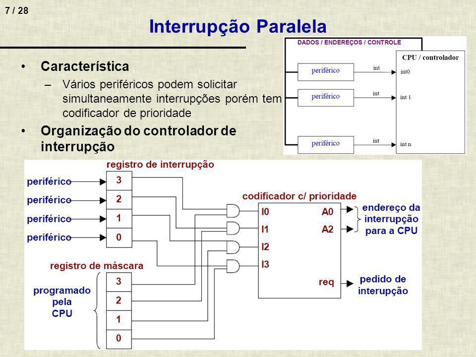 8 / 28 Interrupções no x86 (Intel) 1.Externas –Periféricos Teclado Impressora Placa comunicação, … –Ativação Através de pinos do µp –INTR (interrupt request) –NMI (interrupção não mascarável) –Exemplo de não mascarável Falta de luz ou paridade em memória 2.Internas ao processador –Também denominadas exceções –Exemplo Divisão por 0